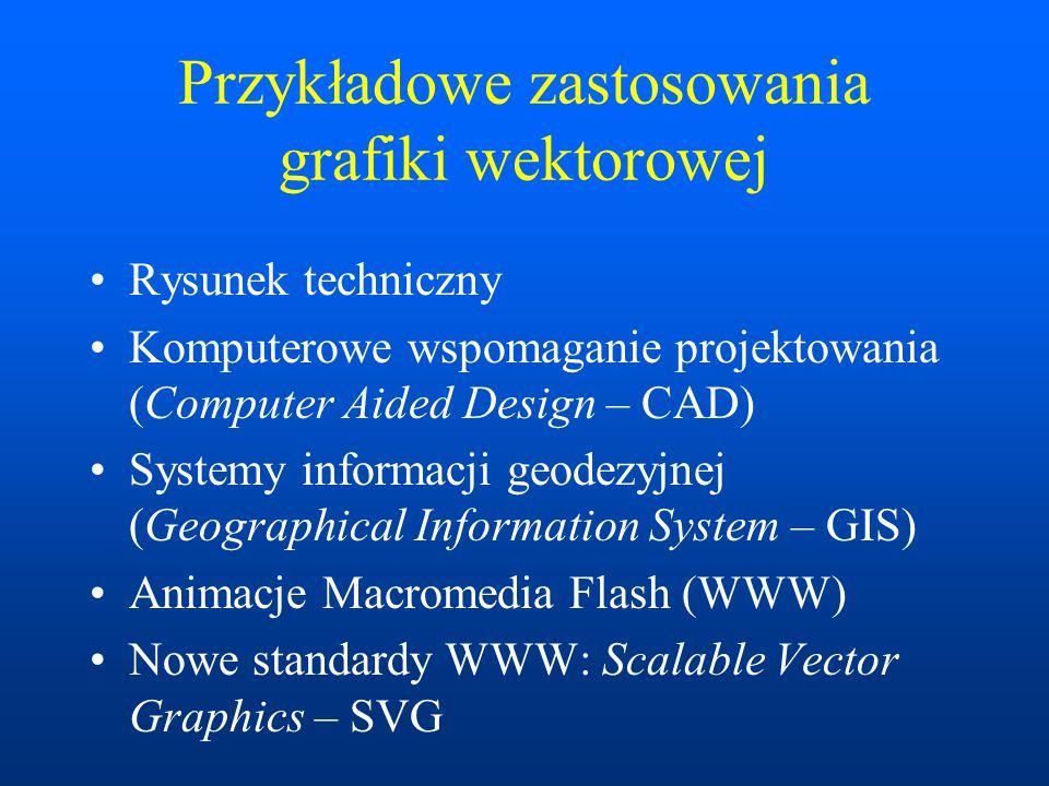 Przykładowe zastosowania grafiki wektorowej Rysunek techniczny Komputerowe wspomaganie projektowania (Computer Aided Design – CAD) Systemy informacji