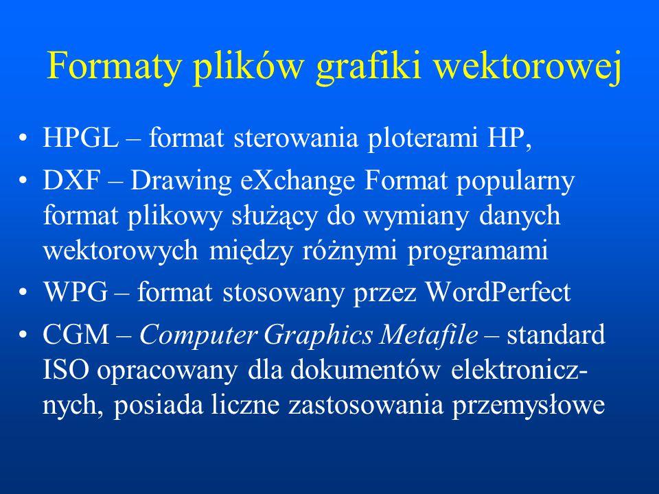 Formaty plików grafiki wektorowej HPGL – format sterowania ploterami HP, DXF – Drawing eXchange Format popularny format plikowy służący do wymiany danych wektorowych między różnymi programami WPG – format stosowany przez WordPerfect CGM – Computer Graphics Metafile – standard ISO opracowany dla dokumentów elektronicz- nych, posiada liczne zastosowania przemysłowe