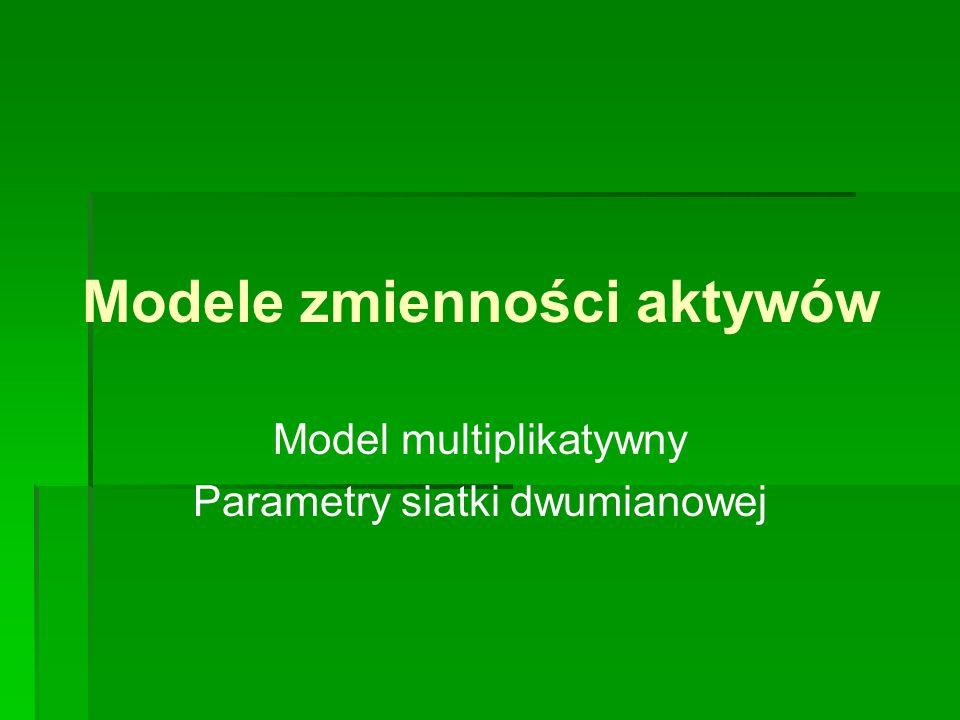 Modele zmienności aktywów Model multiplikatywny Parametry siatki dwumianowej