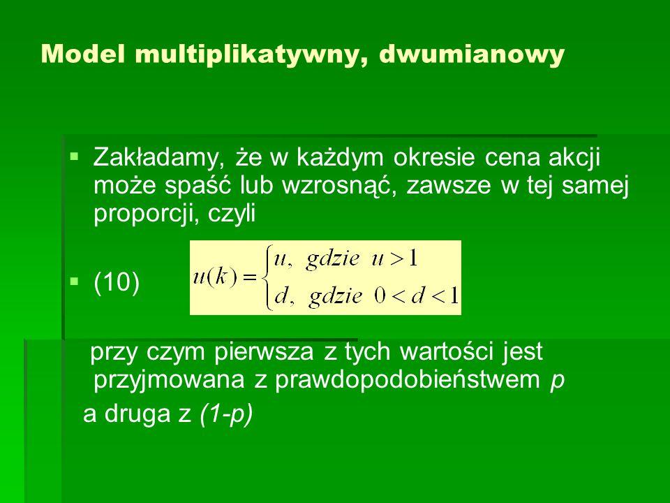 Model multiplikatywny, dwumianowy   Zakładamy, że w każdym okresie cena akcji może spaść lub wzrosnąć, zawsze w tej samej proporcji, czyli   (10) przy czym pierwsza z tych wartości jest przyjmowana z prawdopodobieństwem p a druga z (1-p)