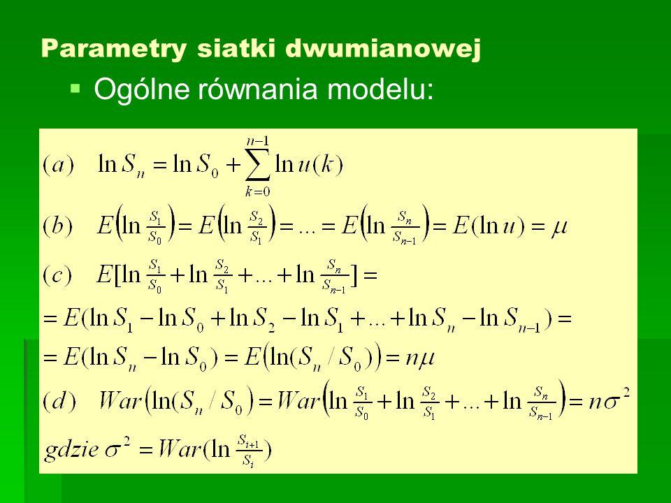 Parametry siatki dwumianowej   Ogólne równania modelu: