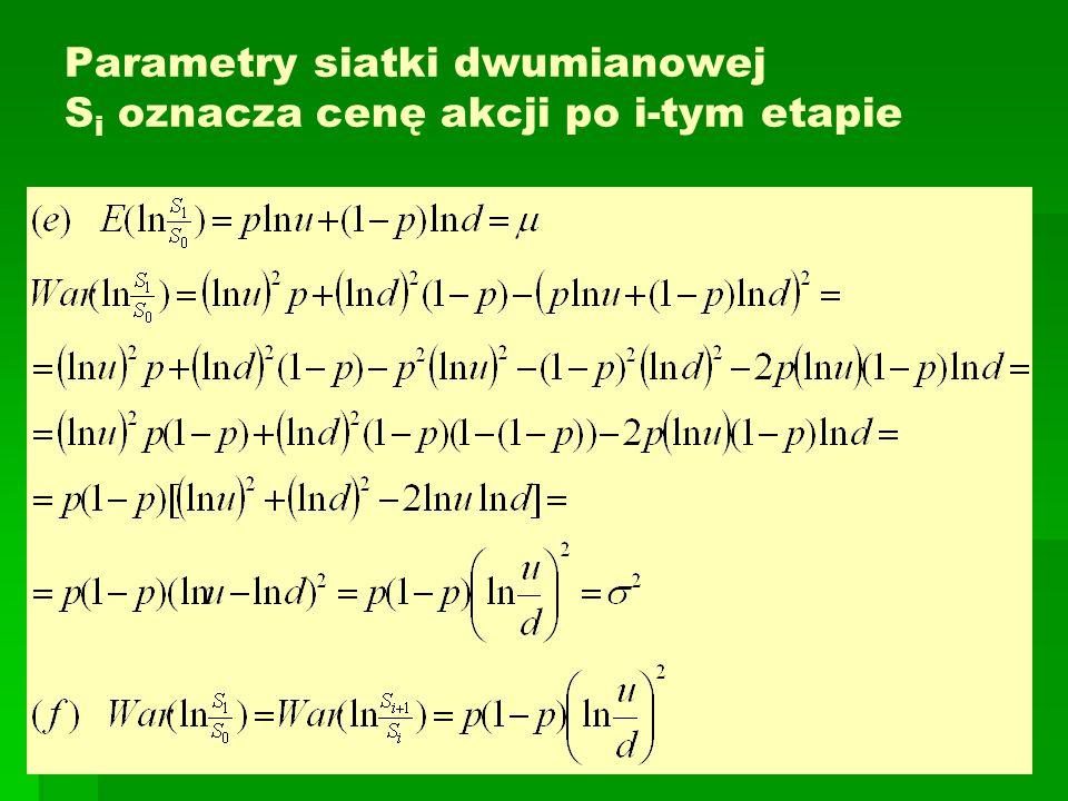 Parametry siatki dwumianowej S i oznacza cenę akcji po i-tym etapie