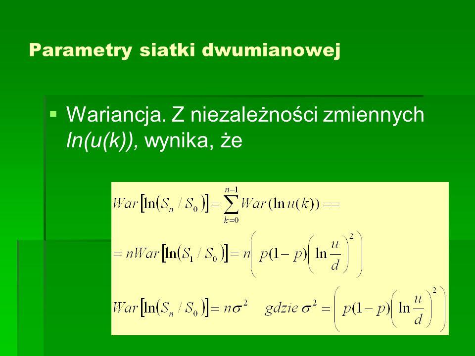 Parametry siatki dwumianowej   Wariancja. Z niezależności zmiennych ln(u(k)), wynika, że