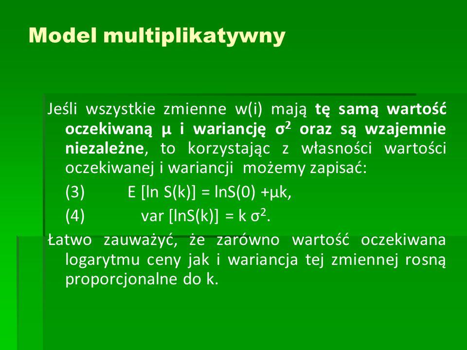 Model multiplikatywny Jeśli wszystkie zmienne w(i) mają tę samą wartość oczekiwaną μ i wariancję σ 2 oraz są wzajemnie niezależne, to korzystając z własności wartości oczekiwanej i wariancji możemy zapisać: (3) E [ln S(k)] = lnS(0) +μk, (4) var [lnS(k)] = k σ 2.