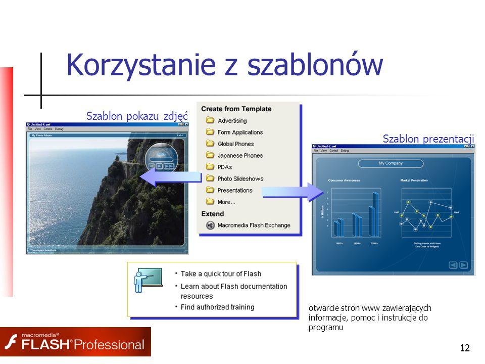 12 Korzystanie z szablonów otwarcie stron www zawierających informacje, pomoc i instrukcje do programu Szablon pokazu zdjęć Szablon prezentacji