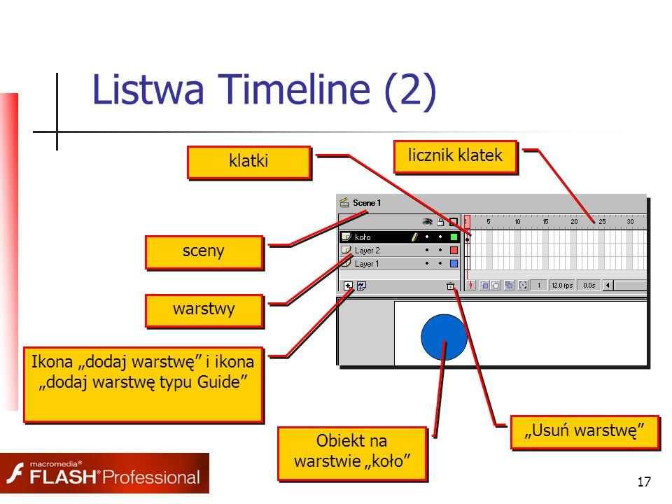 """17 Listwa Timeline (2) Obiekt na warstwie """"koło"""" Ikona """"dodaj warstwę"""" i ikona """"dodaj warstwę typu Guide"""" warstwy sceny klatki licznik klatek """"Usuń wa"""