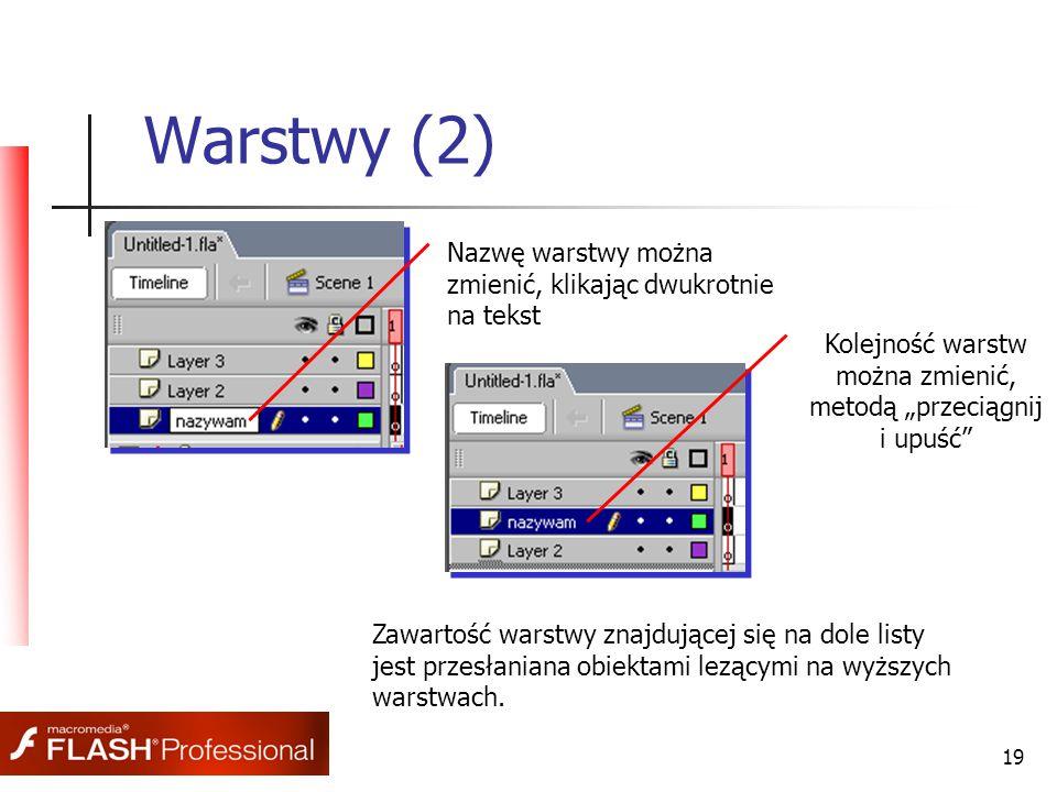 """19 Warstwy (2) Nazwę warstwy można zmienić, klikając dwukrotnie na tekst Kolejność warstw można zmienić, metodą """"przeciągnij i upuść Zawartość warstwy znajdującej się na dole listy jest przesłaniana obiektami lezącymi na wyższych warstwach."""