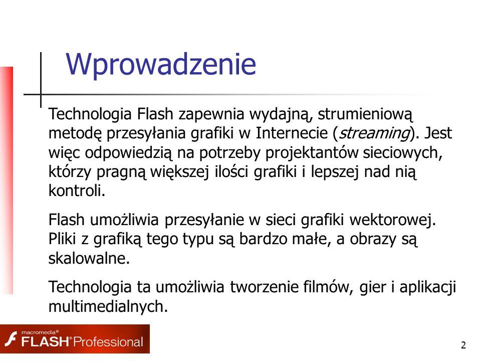 2 Wprowadzenie Technologia Flash zapewnia wydajną, strumieniową metodę przesyłania grafiki w Internecie (streaming). Jest więc odpowiedzią na potrzeby