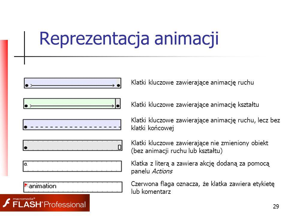 29 Reprezentacja animacji Klatki kluczowe zawierające animację ruchu Klatki kluczowe zawierające animację kształtu Klatki kluczowe zawierające animację ruchu, lecz bez klatki końcowej Klatki kluczowe zawierające nie zmieniony obiekt (bez animacji ruchu lub kształtu) Klatka z literą a zawiera akcję dodaną za pomocą panelu Actions Czerwona flaga oznacza, że klatka zawiera etykietę lub komentarz