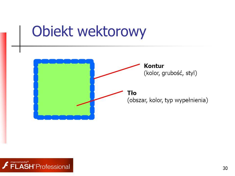 30 Obiekt wektorowy Kontur (kolor, grubość, styl) Tło (obszar, kolor, typ wypełnienia)