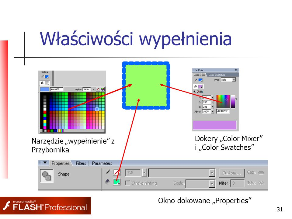 "31 Właściwości wypełnienia Narzędzie ""wypełnienie z Przybornika Dokery ""Color Mixer i ""Color Swatches Okno dokowane ""Properties"