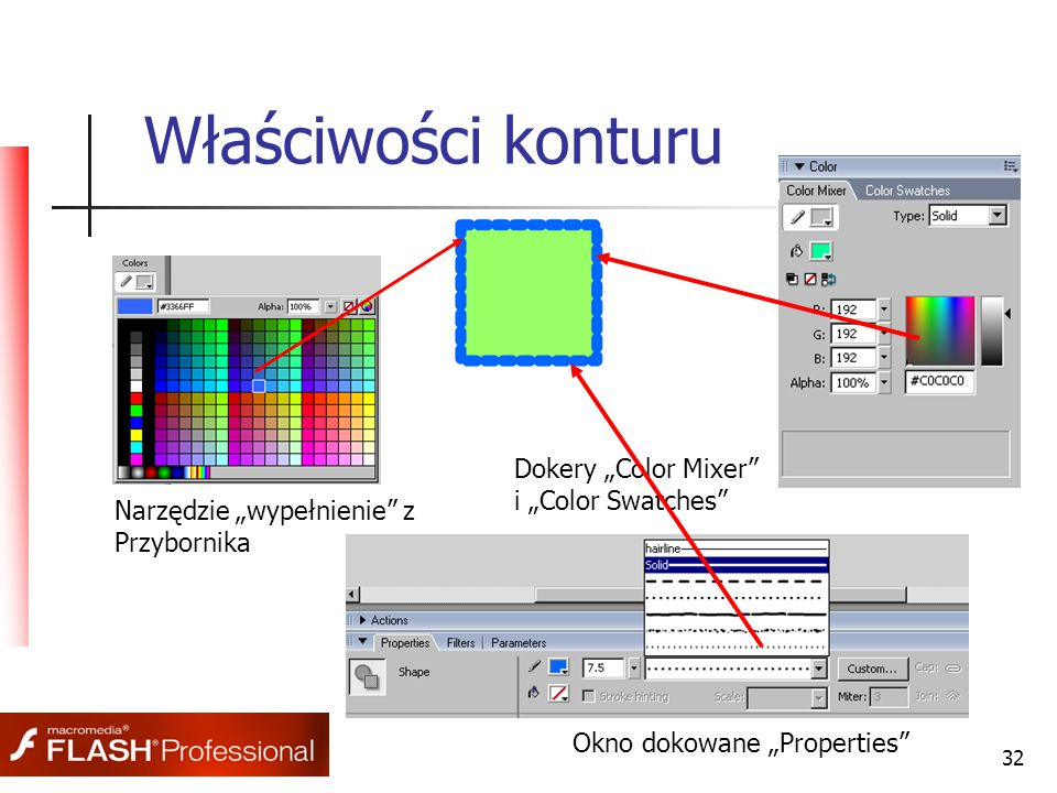 """32 Właściwości konturu Narzędzie """"wypełnienie"""" z Przybornika Okno dokowane """"Properties"""" Dokery """"Color Mixer"""" i """"Color Swatches"""""""