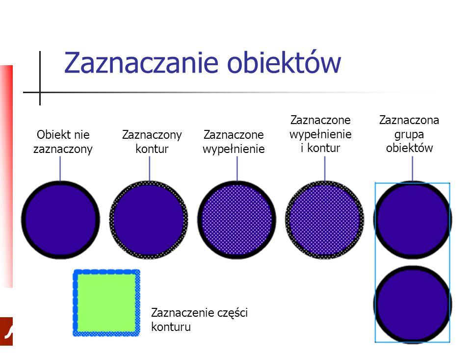 33 Zaznaczanie obiektów Obiekt nie zaznaczony Zaznaczony kontur Zaznaczone wypełnienie Zaznaczone wypełnienie i kontur Zaznaczona grupa obiektów Zazna