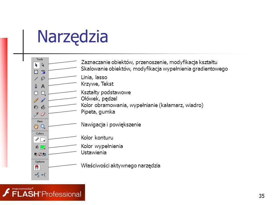 35 Narzędzia Zaznaczanie obiektów, przenoszenie, modyfikacja kształtu Skalowanie obiektów, modyfikacja wypełnienia gradientowego Linia, lasso Krzywe,