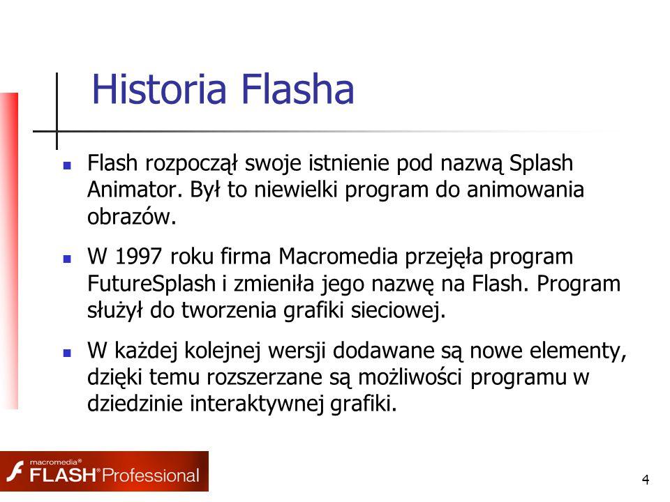 4 Historia Flasha Flash rozpoczął swoje istnienie pod nazwą Splash Animator. Był to niewielki program do animowania obrazów. W 1997 roku firma Macrome