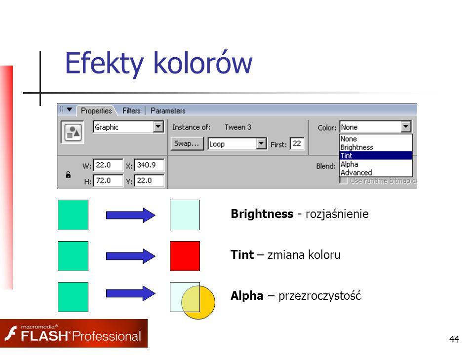 44 Efekty kolorów Brightness - rozjaśnienie Tint – zmiana koloru Alpha – przezroczystość
