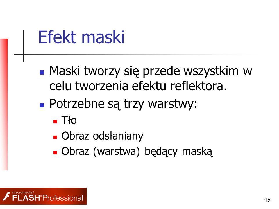 45 Efekt maski Maski tworzy się przede wszystkim w celu tworzenia efektu reflektora. Potrzebne są trzy warstwy: Tło Obraz odsłaniany Obraz (warstwa) b