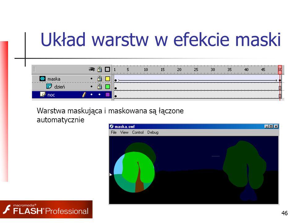 46 Układ warstw w efekcie maski Warstwa maskująca i maskowana są łączone automatycznie