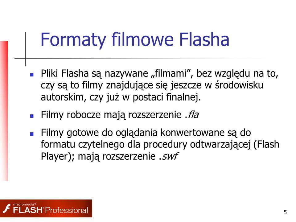 6 Publikowanie filmów dla www  Publikacja projektu (.fla) następuje poprzez wybranie opcji Publish w menu File.