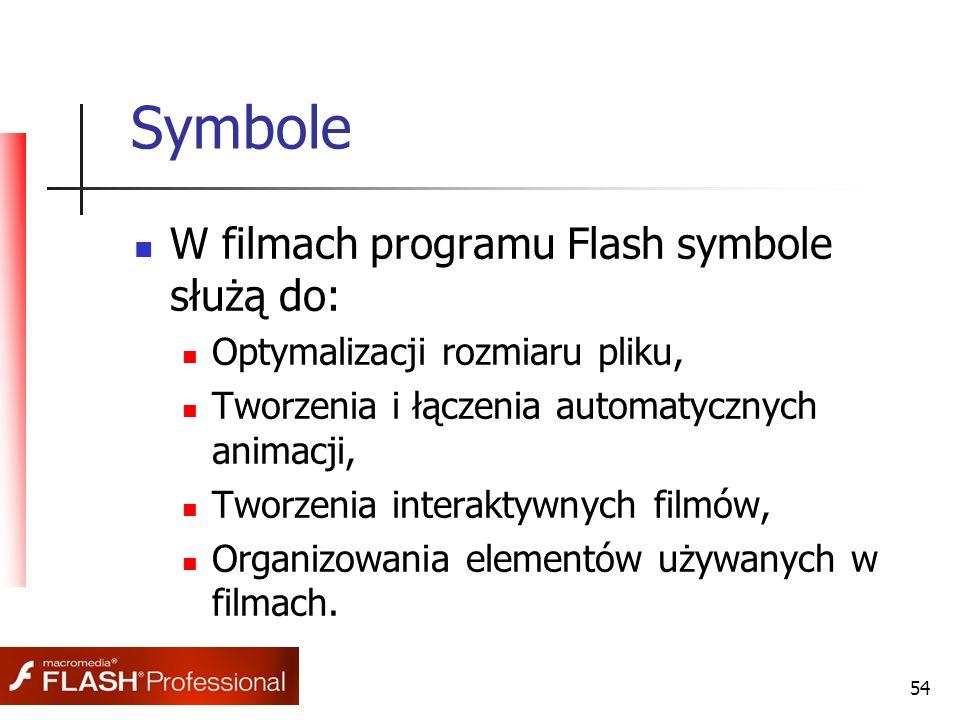 54 Symbole W filmach programu Flash symbole służą do: Optymalizacji rozmiaru pliku, Tworzenia i łączenia automatycznych animacji, Tworzenia interaktywnych filmów, Organizowania elementów używanych w filmach.