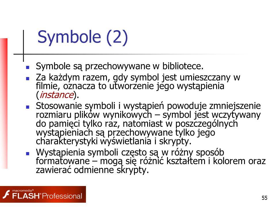 55 Symbole (2) Symbole są przechowywane w bibliotece. Za każdym razem, gdy symbol jest umieszczany w filmie, oznacza to utworzenie jego wystąpienia (i