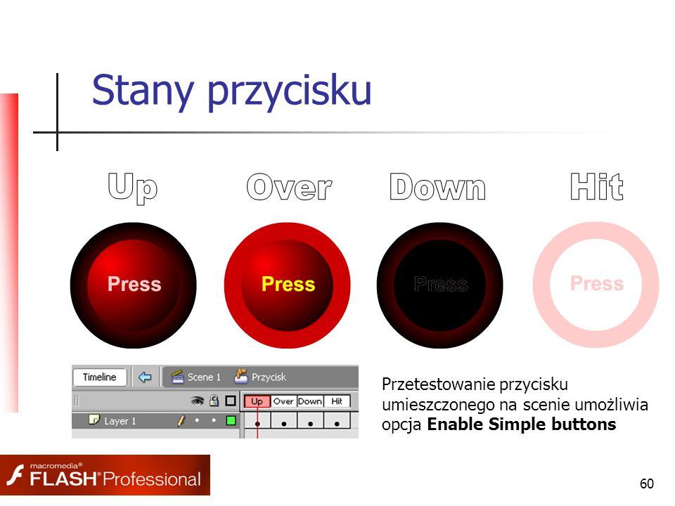 60 Stany przycisku Przetestowanie przycisku umieszczonego na scenie umożliwia opcja Enable Simple buttons