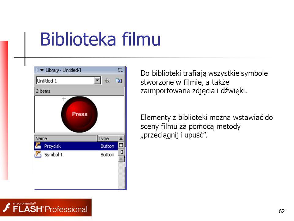 62 Biblioteka filmu Do biblioteki trafiają wszystkie symbole stworzone w filmie, a także zaimportowane zdjęcia i dźwięki. Elementy z biblioteki można