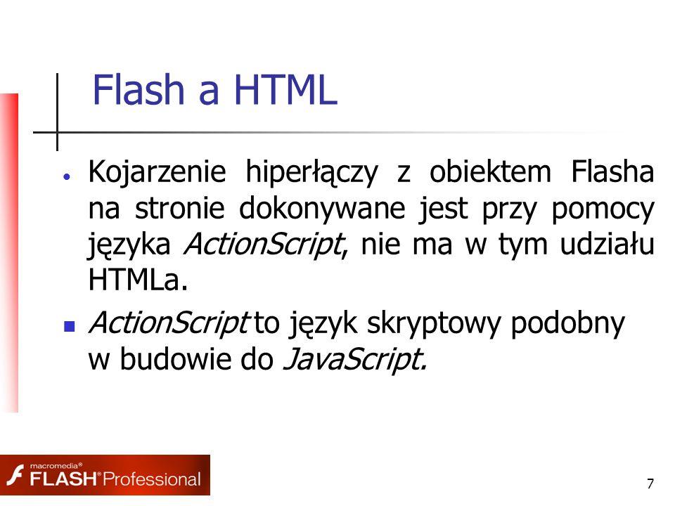 7 Flash a HTML  Kojarzenie hiperłączy z obiektem Flasha na stronie dokonywane jest przy pomocy języka ActionScript, nie ma w tym udziału HTMLa. Actio