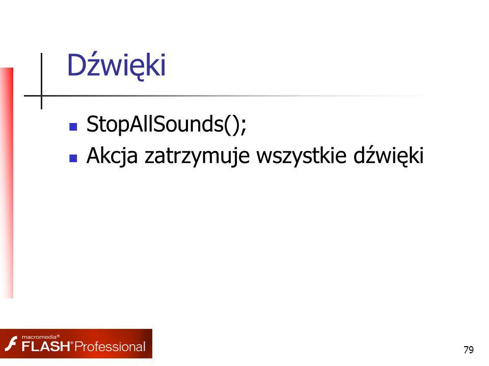 79 Dźwięki StopAllSounds(); Akcja zatrzymuje wszystkie dźwięki