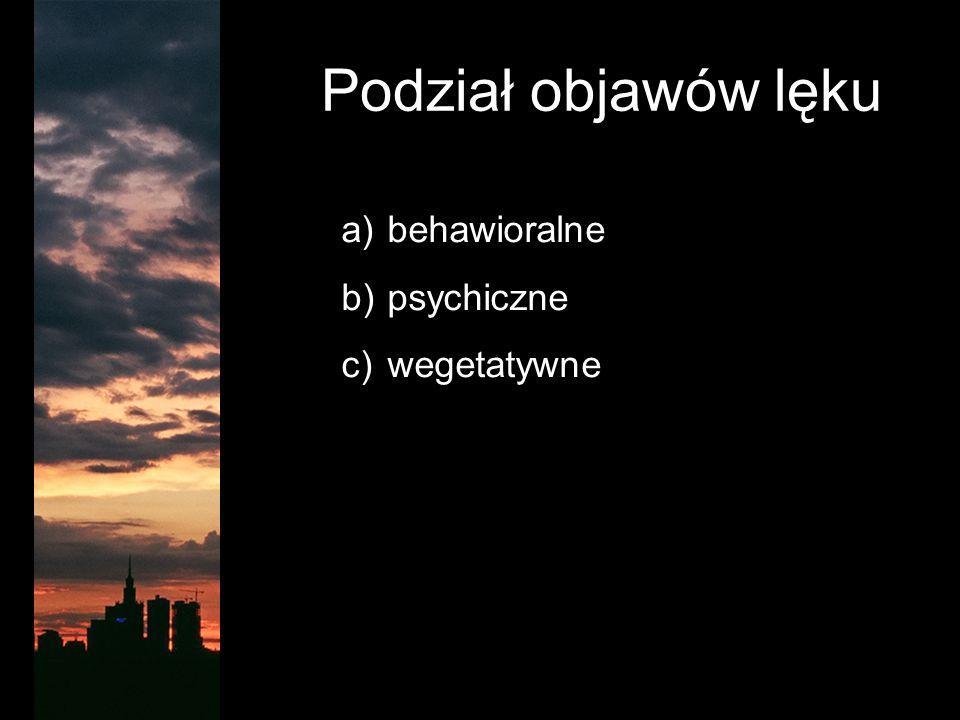 Podział objawów lęku a) behawioralne b) psychiczne c) wegetatywne