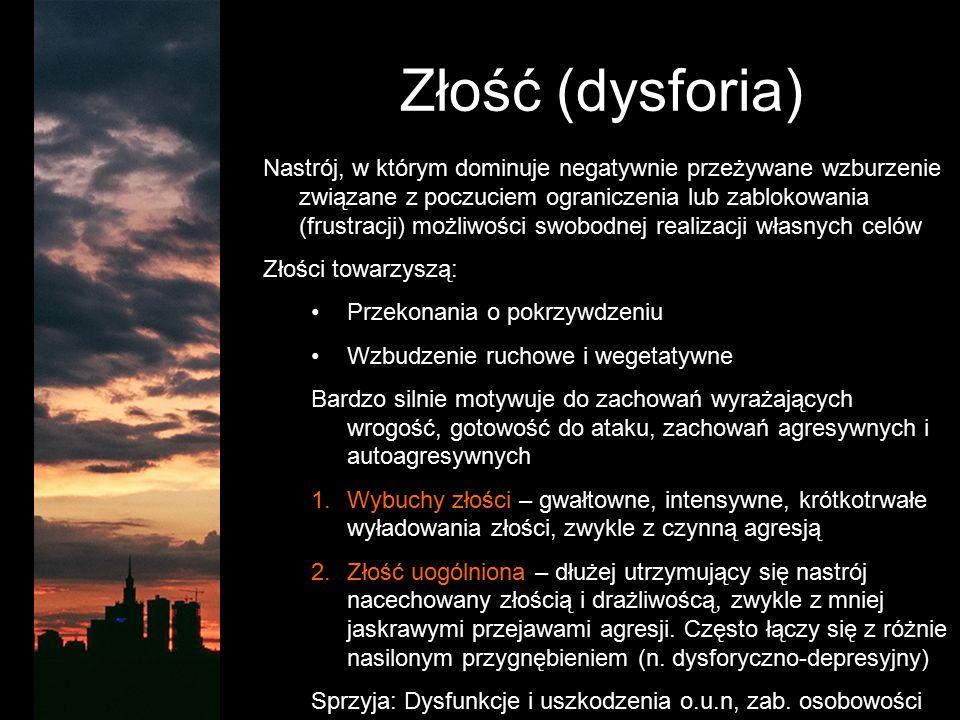 Złość (dysforia) Nastrój, w którym dominuje negatywnie przeżywane wzburzenie związane z poczuciem ograniczenia lub zablokowania (frustracji) możliwośc