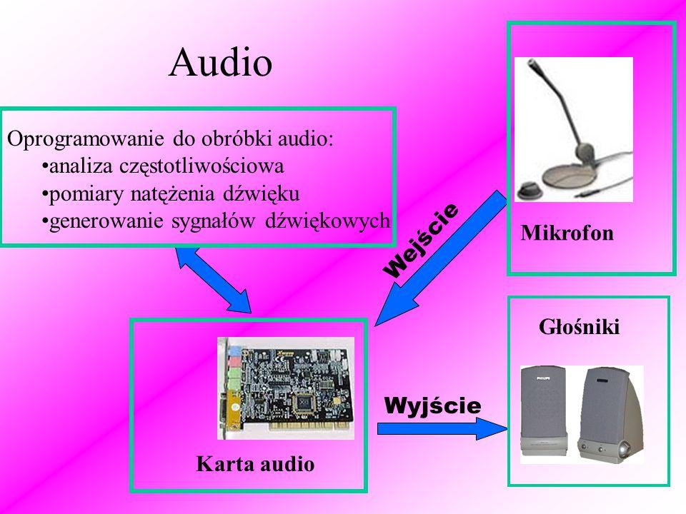 Audio Oprogramowanie do obróbki audio: analiza częstotliwościowa pomiary natężenia dźwięku generowanie sygnałów dźwiękowych Mikrofon Wejście Wyjście Głośniki Karta audio