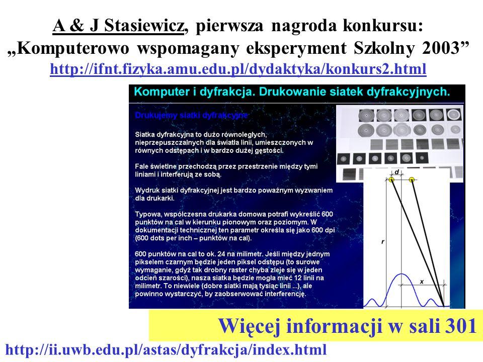 """http://ii.uwb.edu.pl/astas/dyfrakcja/index.html A & J Stasiewicz, pierwsza nagroda konkursu: """"Komputerowo wspomagany eksperyment Szkolny 2003 http://ifnt.fizyka.amu.edu.pl/dydaktyka/konkurs2.html Więcej informacji w sali 301"""