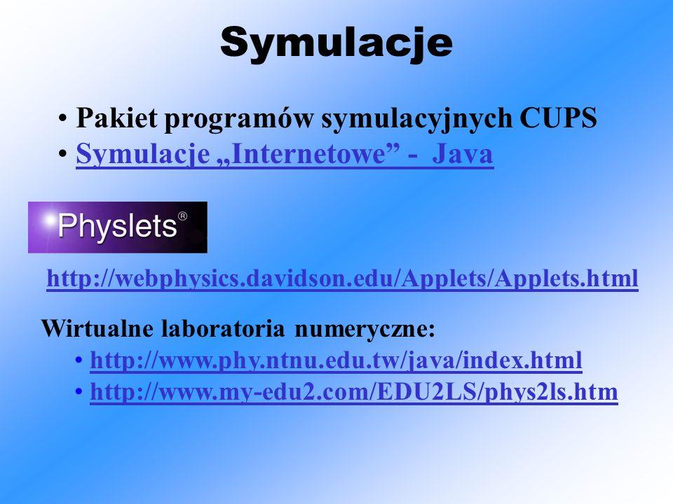 """Symulacje Wirtualne laboratoria numeryczne: http://www.phy.ntnu.edu.tw/java/index.html http://www.my-edu2.com/EDU2LS/phys2ls.htm http://webphysics.davidson.edu/Applets/Applets.html Pakiet programów symulacyjnych CUPS Symulacje """"Internetowe - Java"""