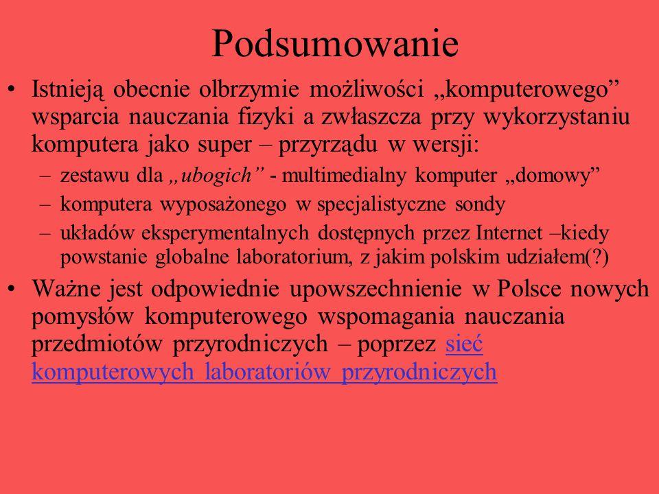 """Podsumowanie Istnieją obecnie olbrzymie możliwości """"komputerowego wsparcia nauczania fizyki a zwłaszcza przy wykorzystaniu komputera jako super – przyrządu w wersji: –zestawu dla """"ubogich - multimedialny komputer """"domowy –komputera wyposażonego w specjalistyczne sondy –układów eksperymentalnych dostępnych przez Internet –kiedy powstanie globalne laboratorium, z jakim polskim udziałem( ) Ważne jest odpowiednie upowszechnienie w Polsce nowych pomysłów komputerowego wspomagania nauczania przedmiotów przyrodniczych – poprzez sieć komputerowych laboratoriów przyrodniczychsieć komputerowych laboratoriów przyrodniczych"""