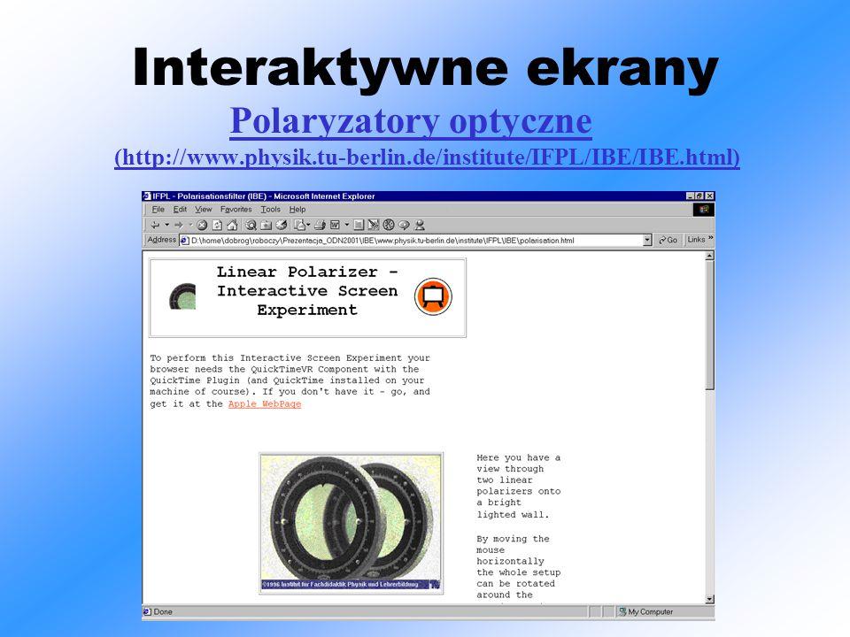 Interaktywne ekrany Polaryzatory optyczne (http://www.physik.tu-berlin.de/institute/IFPL/IBE/IBE.html)