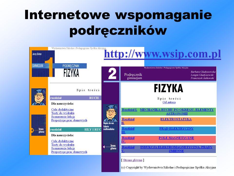 Internetowe wspomaganie podręczników http://www.wsip.com.pl