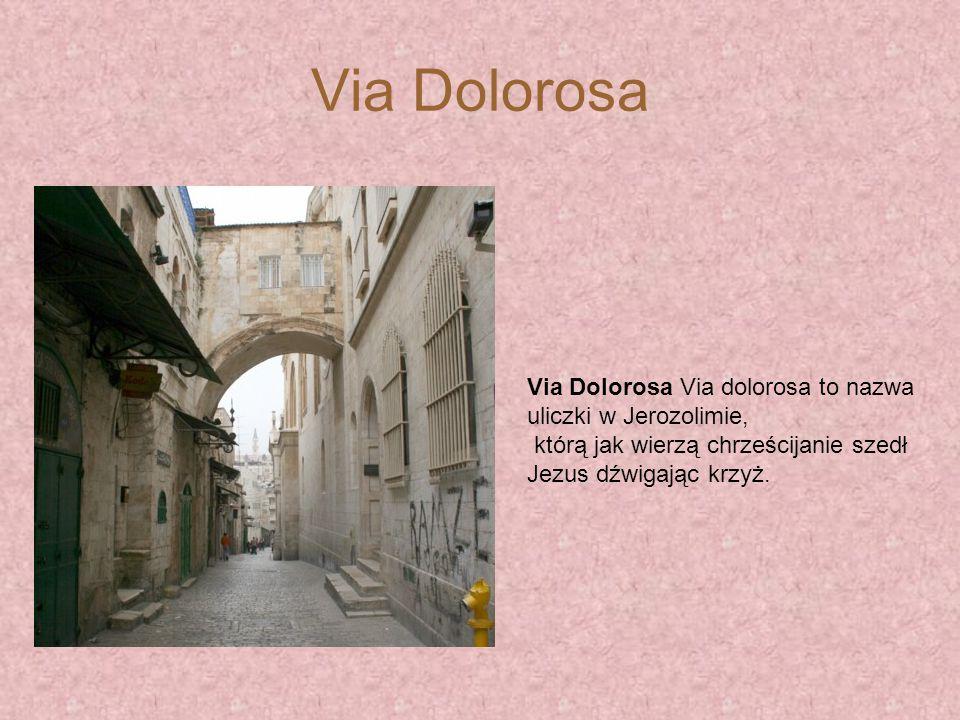 Via Dolorosa Via Dolorosa Via dolorosa to nazwa uliczki w Jerozolimie, którą jak wierzą chrześcijanie szedł Jezus dźwigając krzyż.