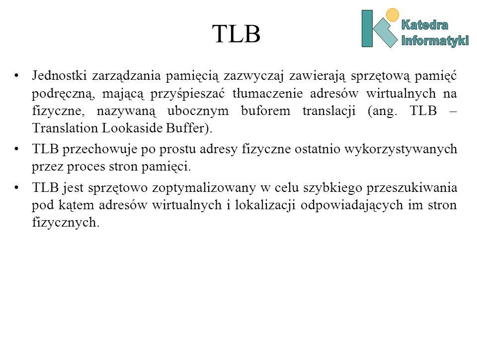 TLB Jednostki zarządzania pamięcią zazwyczaj zawierają sprzętową pamięć podręczną, mającą przyśpieszać tłumaczenie adresów wirtualnych na fizyczne, nazywaną ubocznym buforem translacji (ang.
