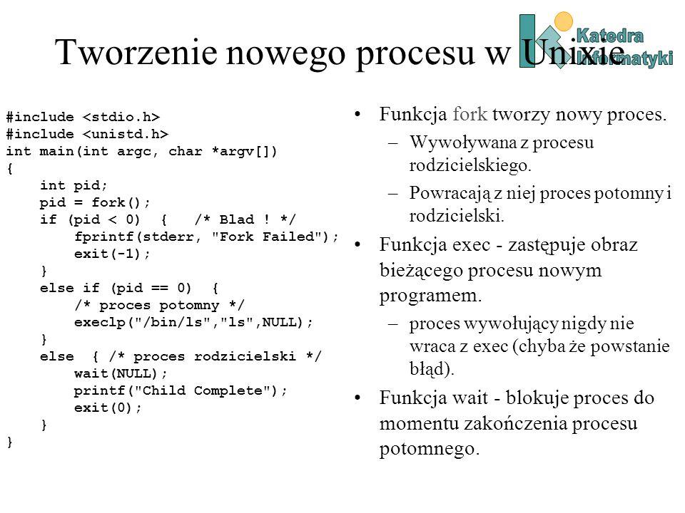 Tworzenie nowego procesu w Unixie #include int main(int argc, char *argv[]) { int pid; pid = fork(); if (pid < 0) { /* Blad .