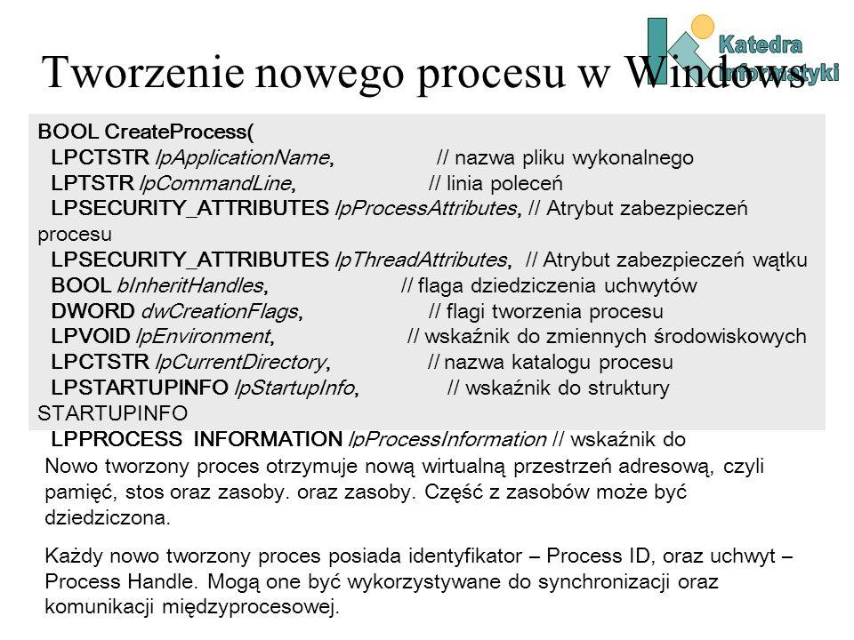 Tworzenie nowego procesu w Windows BOOL CreateProcess( LPCTSTR lpApplicationName, // nazwa pliku wykonalnego LPTSTR lpCommandLine, // linia poleceń LPSECURITY_ATTRIBUTES lpProcessAttributes, // Atrybut zabezpieczeń procesu LPSECURITY_ATTRIBUTES lpThreadAttributes, // Atrybut zabezpieczeń wątku BOOL bInheritHandles, // flaga dziedziczenia uchwytów DWORD dwCreationFlags, // flagi tworzenia procesu LPVOID lpEnvironment, // wskaźnik do zmiennych środowiskowych LPCTSTR lpCurrentDirectory, // nazwa katalogu procesu LPSTARTUPINFO lpStartupInfo, // wskaźnik do struktury STARTUPINFO LPPROCESS_INFORMATION lpProcessInformation // wskaźnik do );// PROCES_INFORMATION Nowo tworzony proces otrzymuje nową wirtualną przestrzeń adresową, czyli pamięć, stos oraz zasoby.