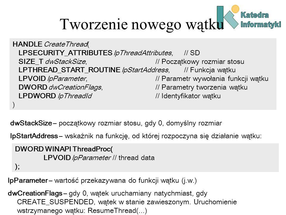 Tworzenie nowego wątku HANDLE CreateThread( LPSECURITY_ATTRIBUTES lpThreadAttributes,// SD SIZE_T dwStackSize,// Początkowy rozmiar stosu LPTHREAD_START_ROUTINE lpStartAddress,// Funkcja wątku LPVOID lpParameter,// Parametr wywołania funkcji wątku DWORD dwCreationFlags,// Parametry tworzenia wątku LPDWORD lpThreadId // Identyfikator wątku ) dwStackSize – początkowy rozmiar stosu, gdy 0, domyślny rozmiar lpStartAddress – wskaźnik na funkcję, od której rozpoczyna się działanie wątku: DWORD WINAPI ThreadProc( LPVOID lpParameter // thread data ); lpParameter – wartość przekazywana do funkcji wątku (j.w.) dwCreationFlags – gdy 0, wątek uruchamiany natychmiast, gdy CREATE_SUSPENDED, wątek w stanie zawieszonym.