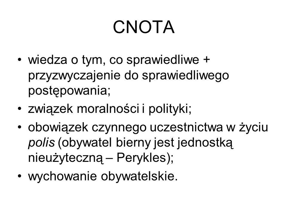 CNOTA wiedza o tym, co sprawiedliwe + przyzwyczajenie do sprawiedliwego postępowania; związek moralności i polityki; obowiązek czynnego uczestnictwa w życiu polis (obywatel bierny jest jednostką nieużyteczną – Perykles); wychowanie obywatelskie.