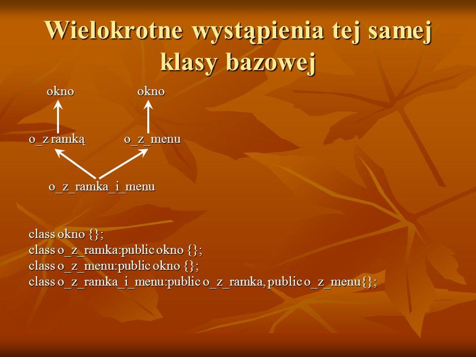 Wielokrotne wystąpienia tej samej klasy bazowej okno okno okno okno o_z ramkąo_z_menu o_z_ramka_i_menu o_z_ramka_i_menu class okno {}; class o_z_ramka:public okno {}; class o_z_menu:public okno {}; class o_z_ramka_i_menu:public o_z_ramka, public o_z_menu{};