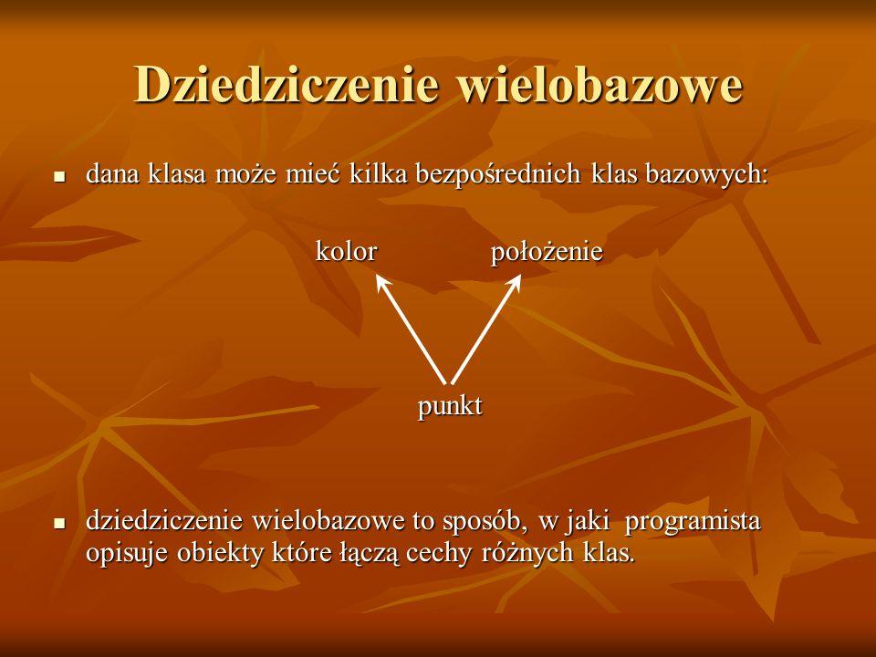 Wirtualne klasy bazowe - deklarowanie okno okno o_z ramkąo_z_menu o_z_ramka_i_menu o_z_ramka_i_menu class okno {}; class o_z_ramka:public virtual okno {}; class o_z_menu:public virtual okno {}; class o_z_ramka_i_menu:public o_z_ramka, public o_z_menu{}; we wszystkich klasach pochodnych dla których chcemy żeby w razie dziedziczenia po kilku z nich ich bezpośrednia klasa bazowa wystąpiła tylko raz należy tę klasę bazową zadeklarować ze słowem kluczowym virtual we wszystkich klasach pochodnych dla których chcemy żeby w razie dziedziczenia po kilku z nich ich bezpośrednia klasa bazowa wystąpiła tylko raz należy tę klasę bazową zadeklarować ze słowem kluczowym virtual wystarczy żeby bezpośredni potomek dziedziczył wirtualnie – o_z_ramka_i_menu już nie musi.