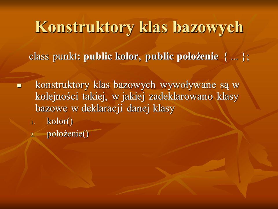 Konstruktory klas bazowych class punkt: public kolor, public położenie {...