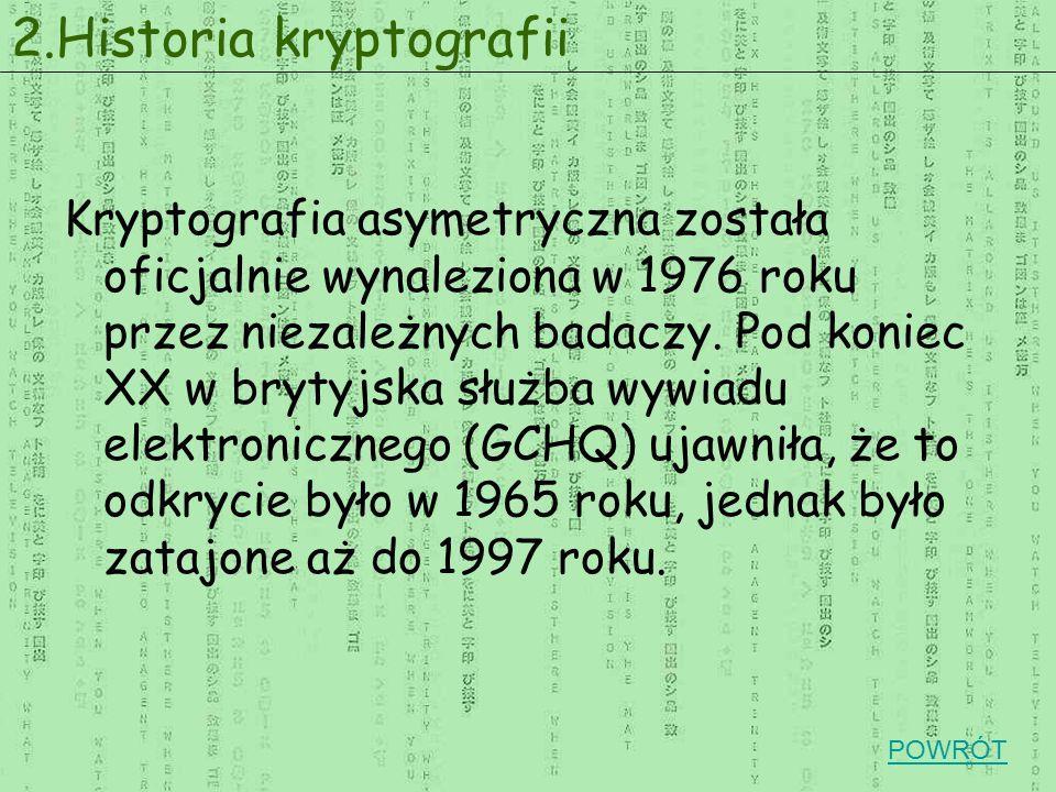 Kryptografia asymetryczna została oficjalnie wynaleziona w 1976 roku przez niezależnych badaczy. Pod koniec XX w brytyjska służba wywiadu elektroniczn