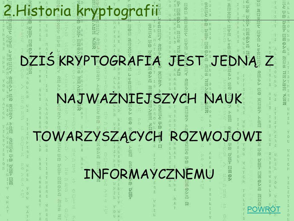 DZIŚ KRYPTOGRAFIA JEST JEDNĄ Z NAJWAŻNIEJSZYCH NAUK TOWARZYSZĄCYCH ROZWOJOWI INFORMAYCZNEMU 2.Historia kryptografii POWRÓT