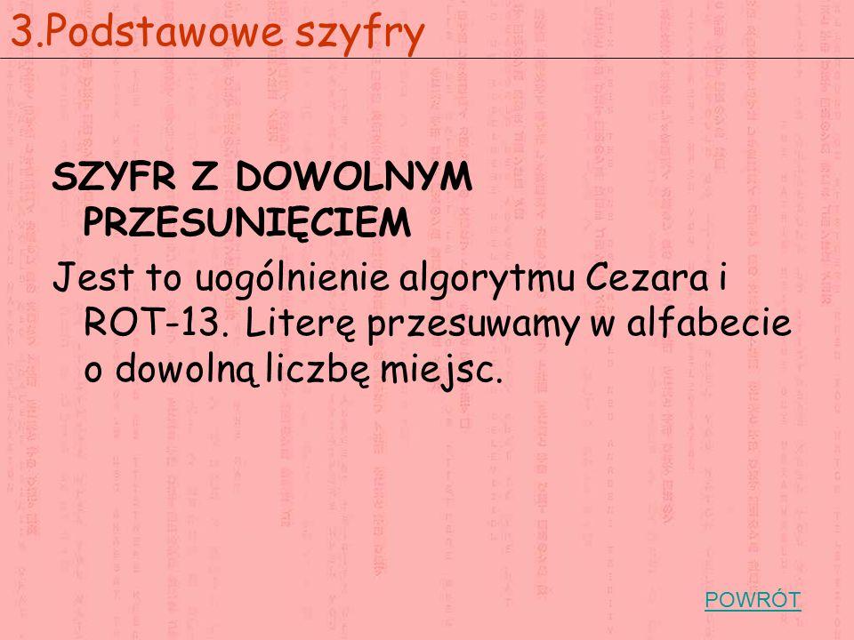 SZYFR Z DOWOLNYM PRZESUNIĘCIEM Jest to uogólnienie algorytmu Cezara i ROT-13. Literę przesuwamy w alfabecie o dowolną liczbę miejsc. 3.Podstawowe szyf