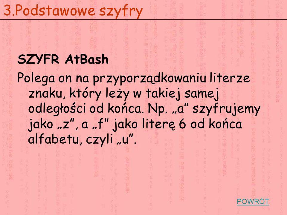 """SZYFR AtBash Polega on na przyporządkowaniu literze znaku, który leży w takiej samej odległości od końca. Np. """"a"""" szyfrujemy jako """"z"""", a """"f"""" jako lite"""